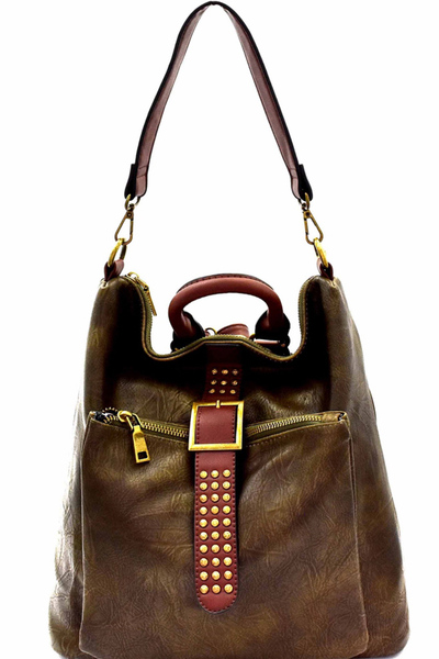 Studded 3-Way Convertible Backpack Hobo