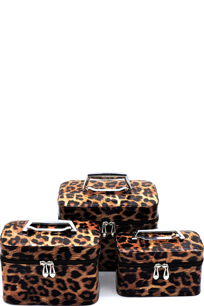Leopard Printed 3-in-1 Cosmetic Case