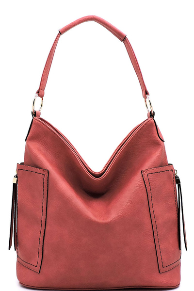 Fashion Side Zip Pocket Shoulder Bag
