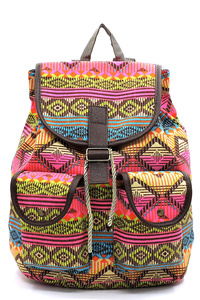 Aztec Printed Canvas Backpack