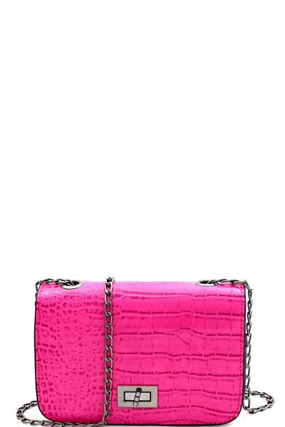 Crocodile Print Tun-lock Small Boxy Cross Body