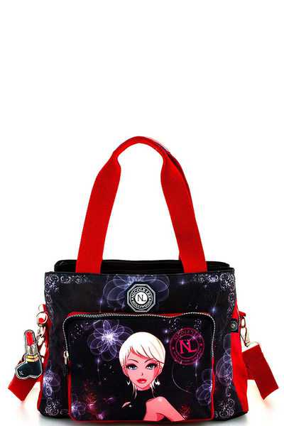 Nicole Lee PRINT FABRIC SATCHEL WITH LONG STRAP
