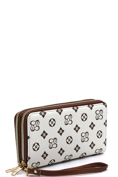 Monogrammed Double Zip Clutch Wallet Wristlet