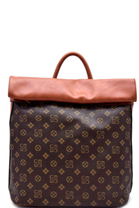 Classic Monogram Fold Down Flap Fashion Backpack
