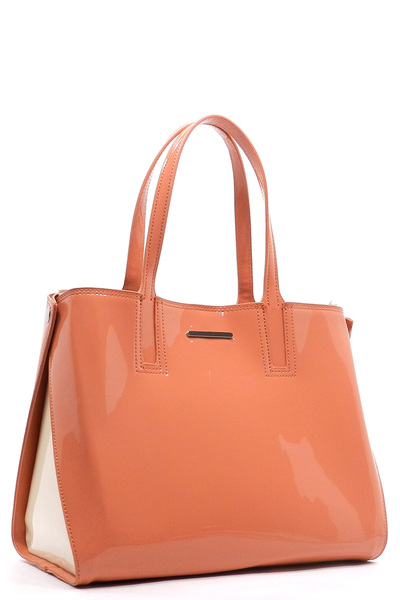 Patent Faux Leather Glossy Colorblock 2-in-1 Tote