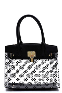 See Thru Monogram Padlock Satchel