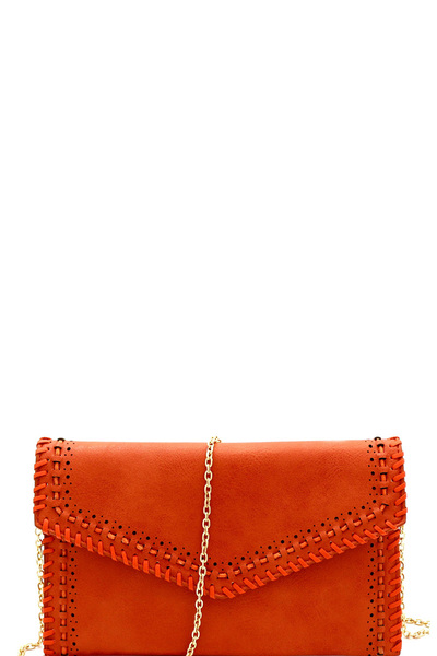 STYLISH FASHION LINKED STRING ENVELOPE CLUTCH WITH CHAIN