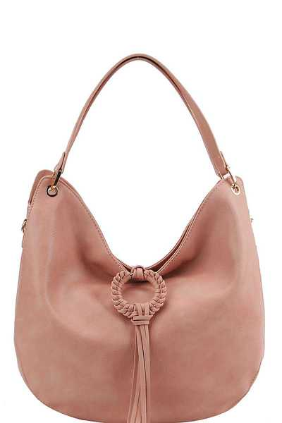 TRENDY FASHION TASSEL HOBO BAG WITH LONG STRAP