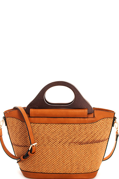 Designer Natural Straw Woven Shopper with Long Strap