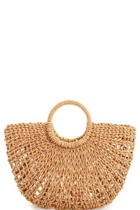 Chic Natural Straw Woven Shopper