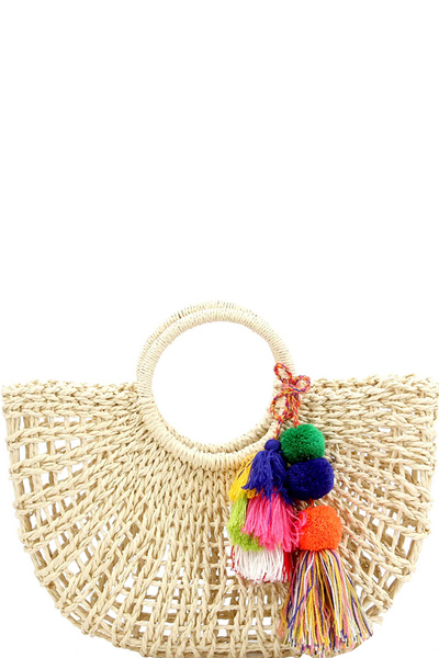 Thread Tassel Accent Knitted Straw Carry Satchel Basket Bag