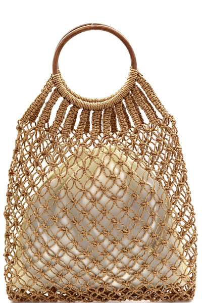 Round Bamboo Handle Straw Crochet Net 2 in 1 Hobo