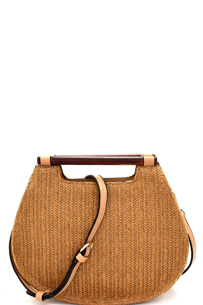 Wooden Handle Woven Straw 2-Way Satchel