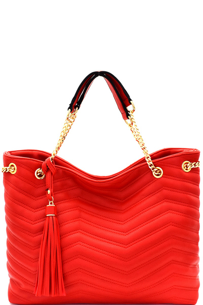 Chevron Quilted Tassel Accent Chain Tote