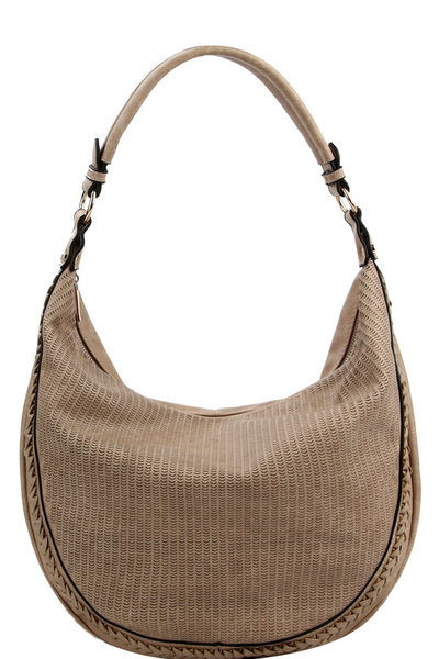 Braid Accent Perforated Single Strap Hobo