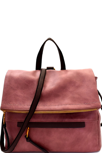 Two-Tone Rustic Convertible Backpack Shoulder Bag