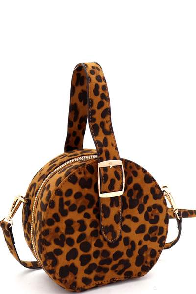 Leopard Print Buckle Wrist Handle Medium Round Satchel