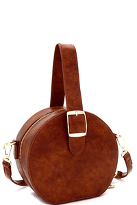 Buckle Wrist Handle Accent Medium Round Satchel