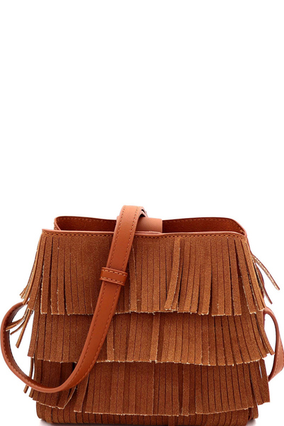 4-Layer Fringed Bohemian Multi-Compartment Shoulder Bag