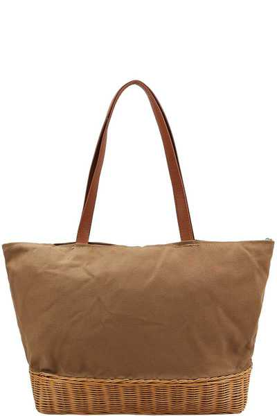 NATURAL WOVEN BOTTOM FASHION SHOPPER BAG