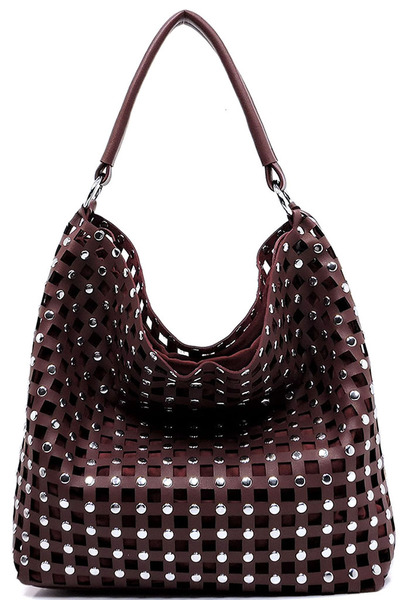 Laser Cut Studded Shoulder Bag
