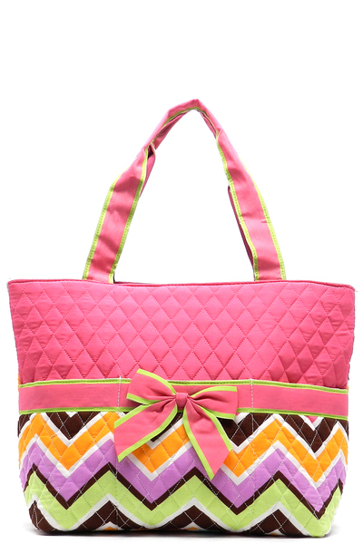 Quilted Chevron Print Diaper Tote Bag
