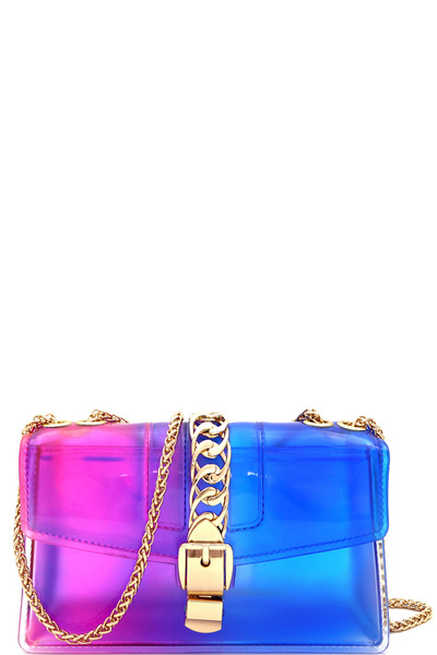 Chain Accent Gradated Jelly Medium Shoulder Bag