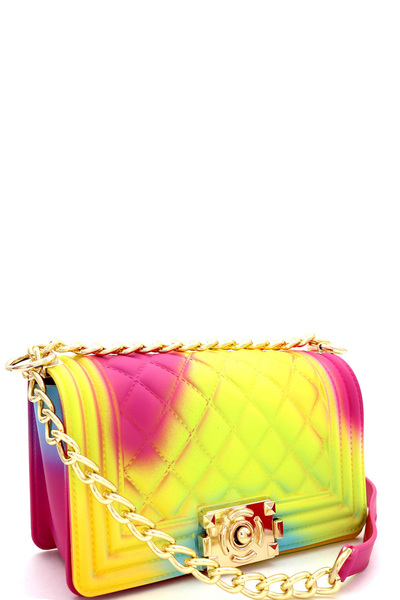Multicolored Embossed Jelly Medium Shoulder Bag