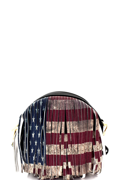 Vintage American Flag Print Western Fringed Round Cross Body
