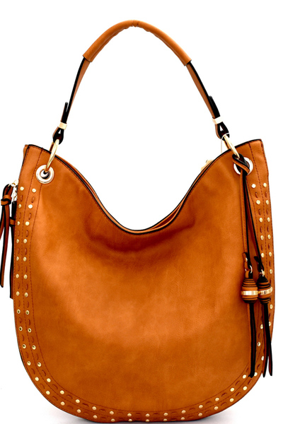 Stud and Stitch Accent Expandable Single Strap Hobo