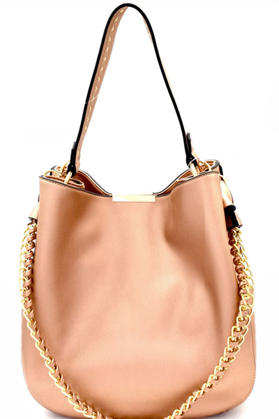Studded Strap Chain Accent Hobo