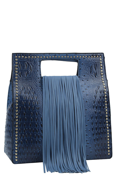 Fringe Accent Croco Print Cut-out Handle 2-way Satchel