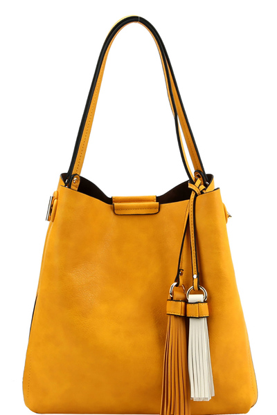 Two-Tone Tassel Accent 3-Compartment Hobo