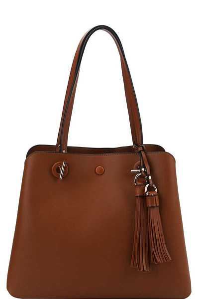 Stylish Fashion Tassel Satchel With Long Strap