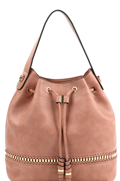 Whipstitch Accent Drawstring 2-Way Bucket Hobo