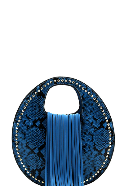 Fringe Accent Snake Print Cut-out Handle 2-way Medium Satchel