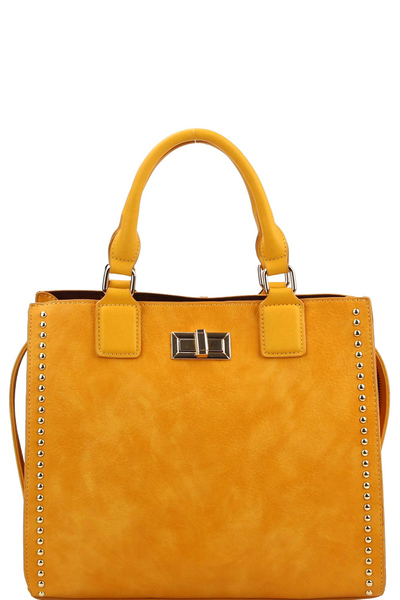 Turn-Lock Accent Studded 3-Compartment Satchel