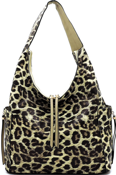 Leopard Side Zip Pocket Shoulder Bag Hobo