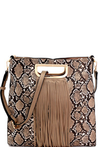 Fringed Snake Cut-Out Metal Handle 2-Way Satchel