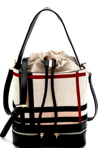 Checker Plaid Print Linen Drawstring Bucket Satchel