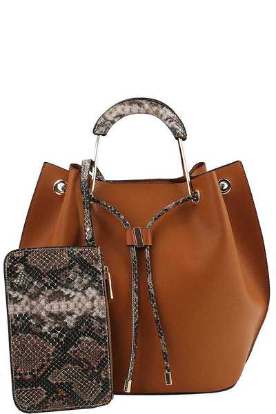 3IN1 TRENDY PYTHON TWO TONE SATCHEL WITH LONG STRAP
