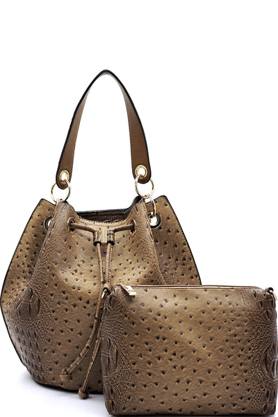Ostrich Croc Drawstring 2-in-1 Bucket Satchel