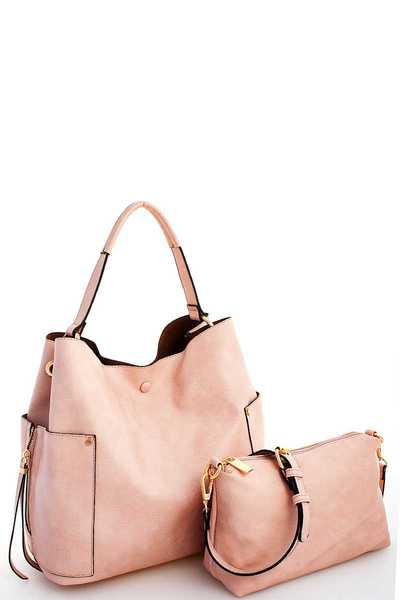 2IN1 TRENDY STYLISH SATCHEL WITH LONG STRAP