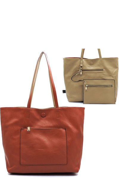 Fashion Front Pocket Reversible Shopper