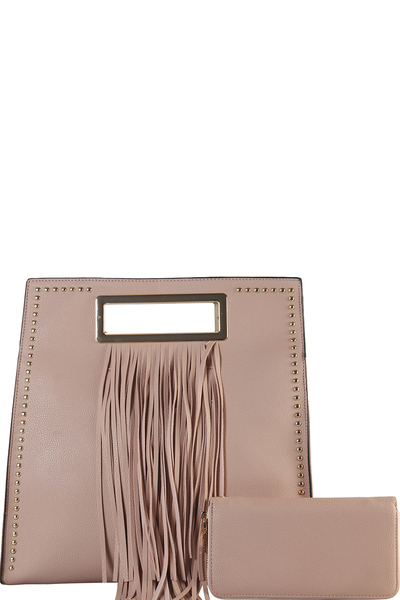 Handbag Republic Square Tote w/Fringe Accent + Strap
