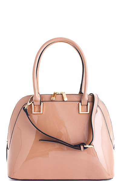 Chic Glossy Princess Domed Satchel with Long Strap