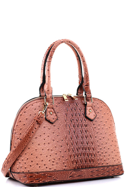 Ostrich Print Embossed Classic 2-Way Dome Satchel