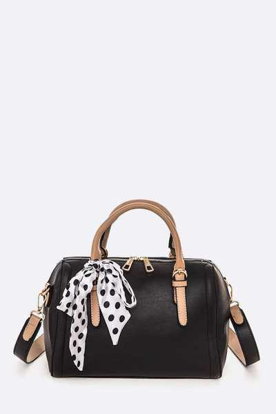 Polka Dot Ribbon Convertible Satchel Bag