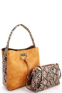 2IN1  PYTHON PATTERN SATCHEL WITH LONG STRAP