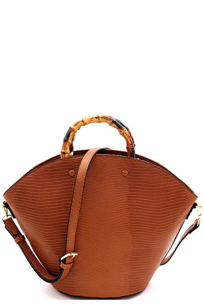 Bamboo Handle Accent Lizard Print Satchel